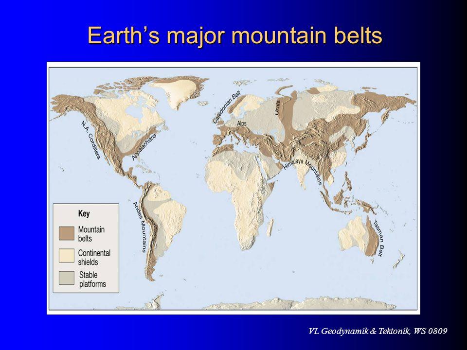 VL Geodynamik & Tektonik, WS 0809 Earths major mountain belts Earths major mountain belts