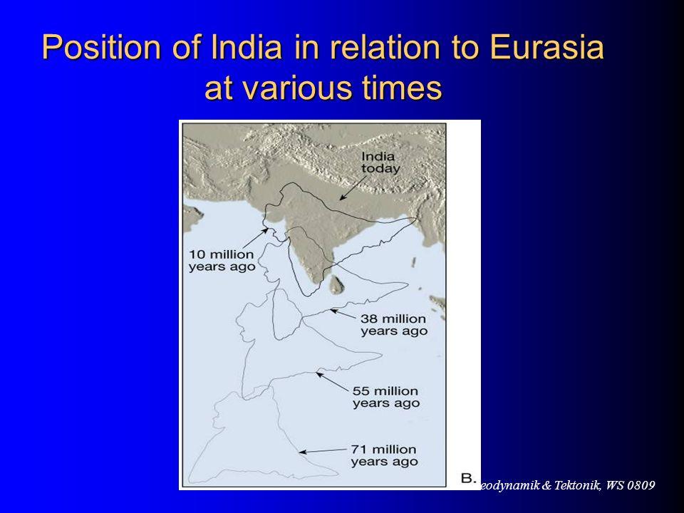 VL Geodynamik & Tektonik, WS 0809 Position of India in relation to Eurasia at various times