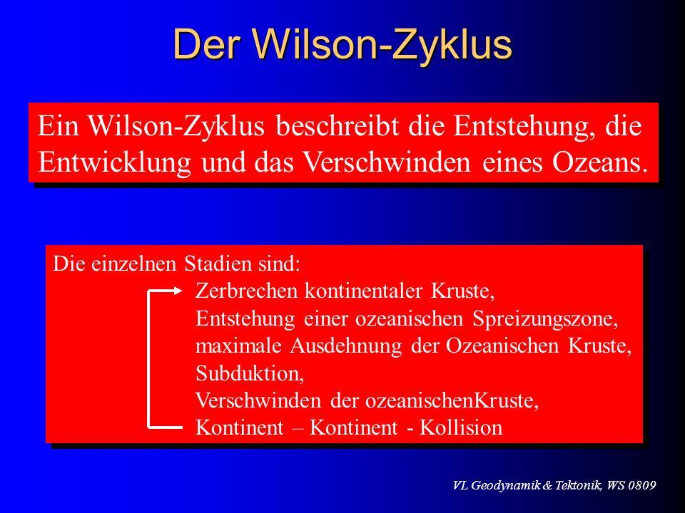 VL Geodynamik & Tektonik, WS 0809 Der Wilson-Zyklus Ein Wilson-Zyklus beschreibt die Entstehung, die Entwicklung und das Verschwinden eines Ozeans. Ei