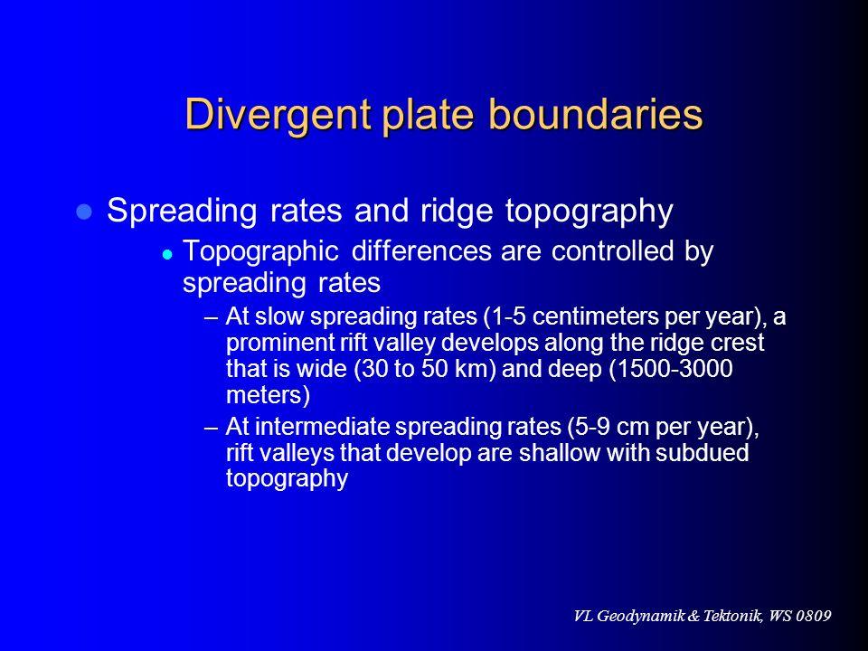VL Geodynamik & Tektonik, WS 0809 Unterschiede zu Gräben Entstehung ozeanischer Kruste Positive Bouguer-Anomalie