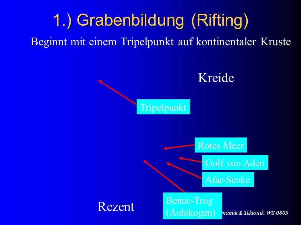 VL Geodynamik & Tektonik, WS 0809 1.) Grabenbildung (Rifting) Beginnt mit einem Tripelpunkt auf kontinentaler Kruste Kreide Rezent Tripelpunkt Benue-T