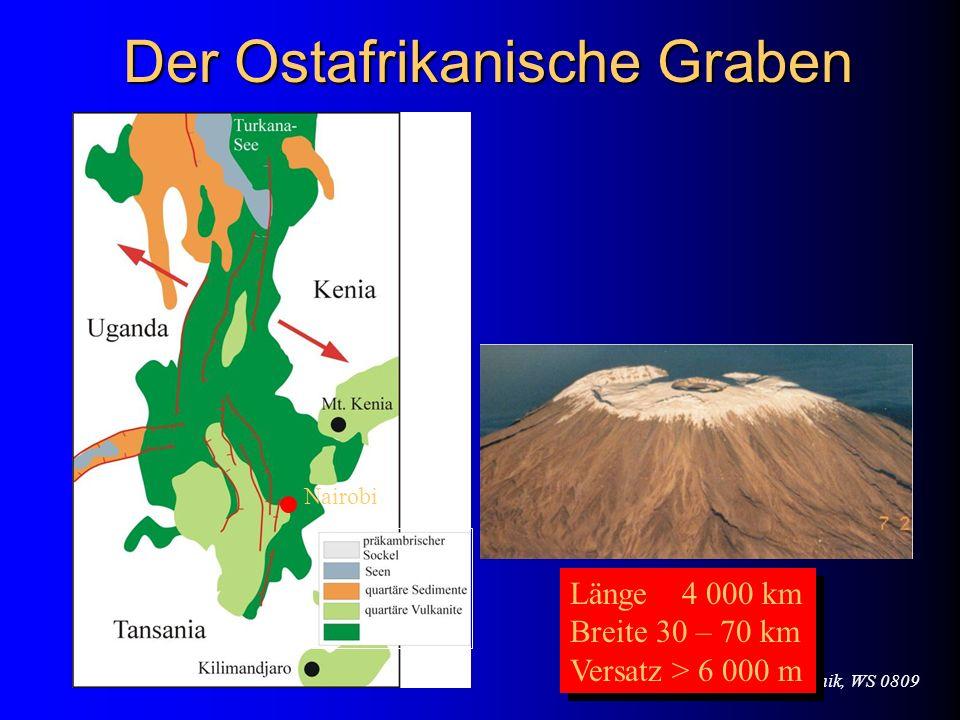 VL Geodynamik & Tektonik, WS 0809 Der Ostafrikanische Graben Nairobi Länge 4 000 km Breite 30 – 70 km Versatz > 6 000 m Länge 4 000 km Breite 30 – 70