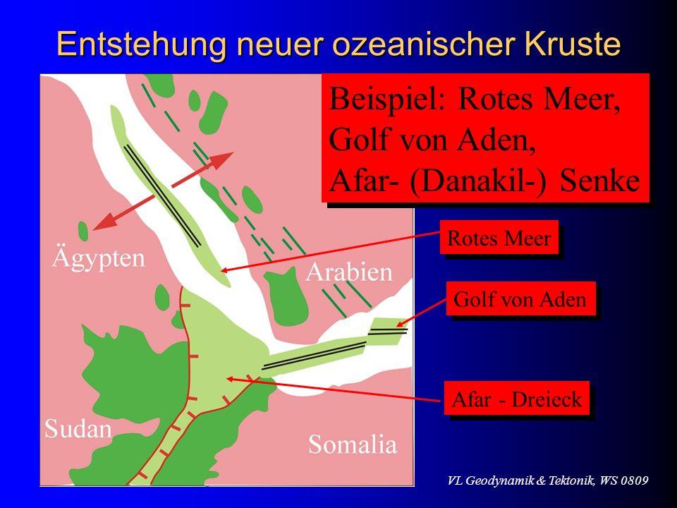 VL Geodynamik & Tektonik, WS 0809 Entstehung neuer ozeanischer Kruste Beispiel: Rotes Meer, Golf von Aden, Afar- (Danakil-) Senke Beispiel: Rotes Meer