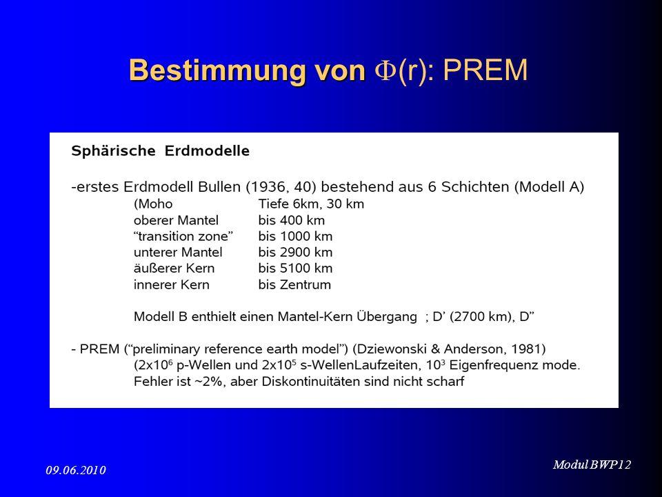 Modul BWP12 09.06.2010 Bestimmung von Bestimmung von (r): PREM