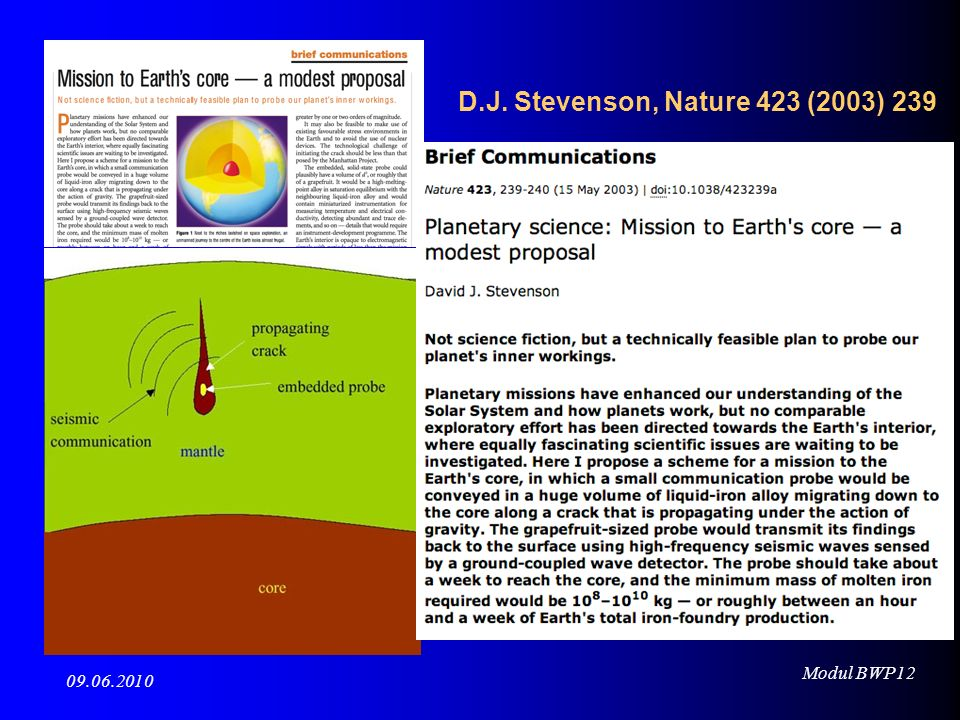 Modul BWP12 09.06.2010 Wie kann man die Zusammensetzung der Erde bestimmen ?