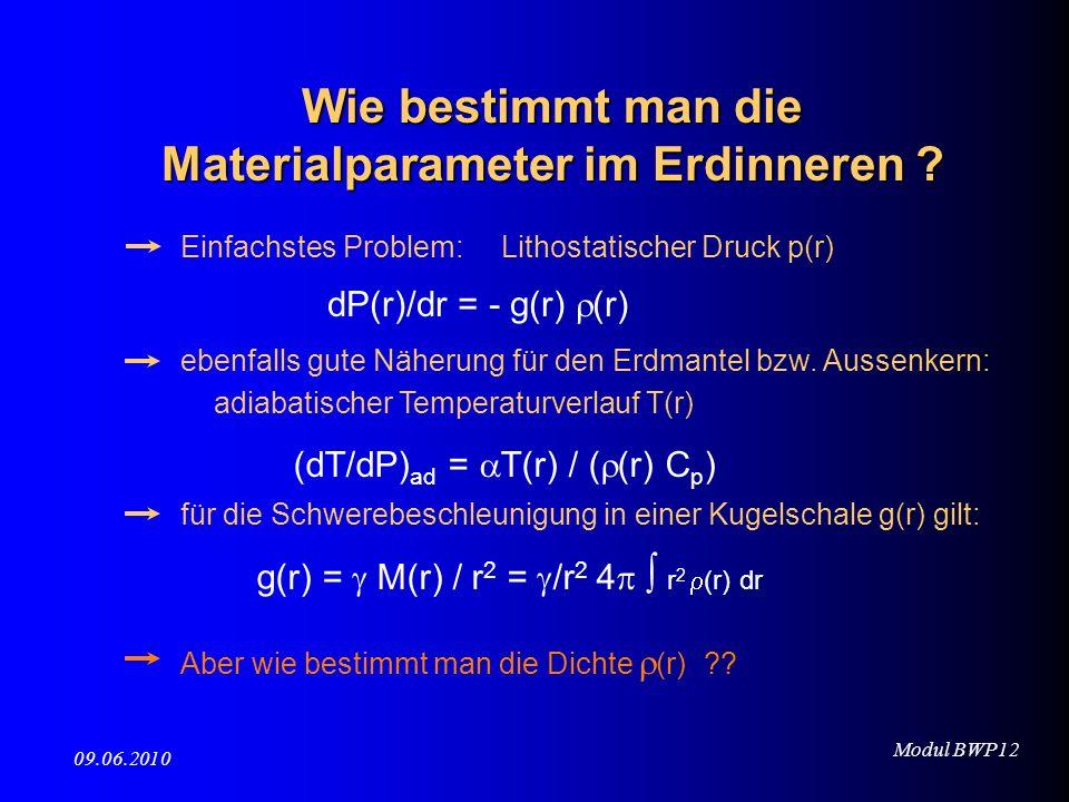Modul BWP12 09.06.2010 dP(r)/dr = - g(r) (r) Einfachstes Problem: Lithostatischer Druck p(r) ebenfalls gute Näherung für den Erdmantel bzw. Aussenkern