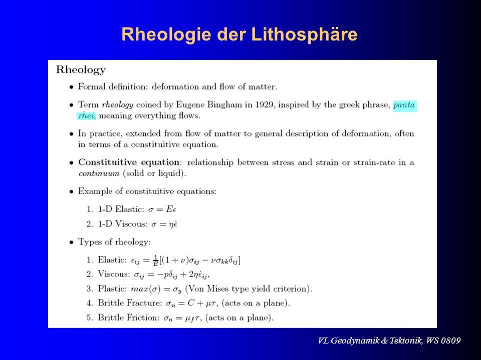 VL Geodynamik & Tektonik, WS 0809 Rheologie der Lithosphäre Byerlee (1978) Empirisches Gesetz Sprödbruch (brittle failure) bei zunehmendem Umschliessungsdruck