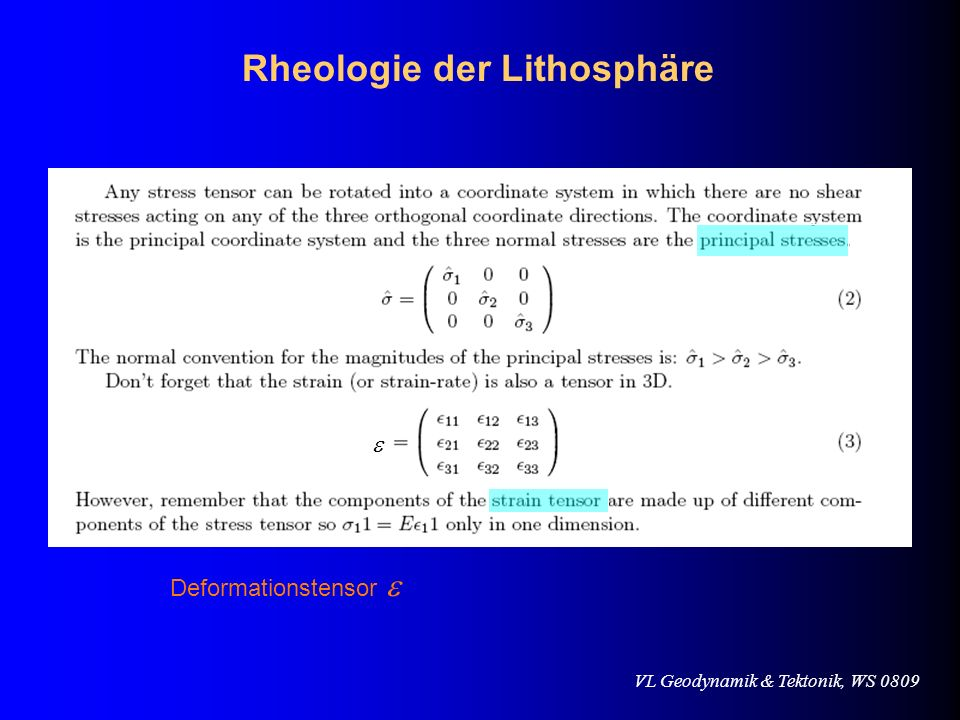 VL Geodynamik & Tektonik, WS 0809 Mikroskopisch (homogener Festkörper): Griffith Sprödbruch Theorie Makroskopisch (heterogenes Gestein): Empirische Gesetze Rheologie der Lithosphäre