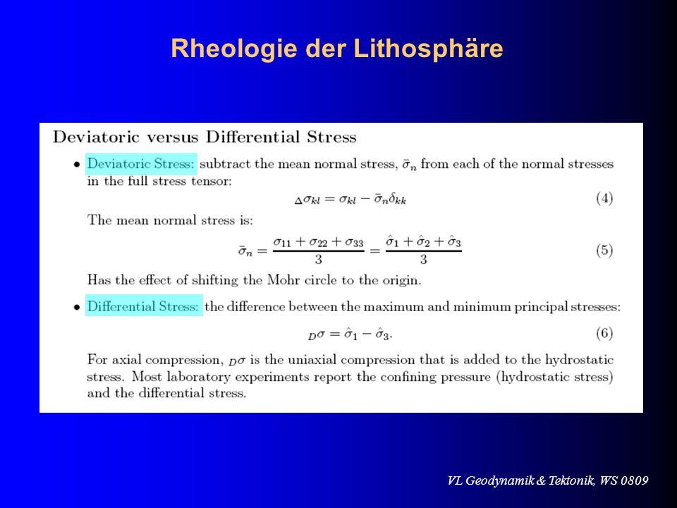 VL Geodynamik & Tektonik, WS 080919.11.2008 Zusammenfassung Die Rheologie der Lithosphäre wird durch Deformations- Prozesse auf verschiedensten Zeitskalen (im Bereich von bis zu 15 Grössenordnungen) bestimmt.