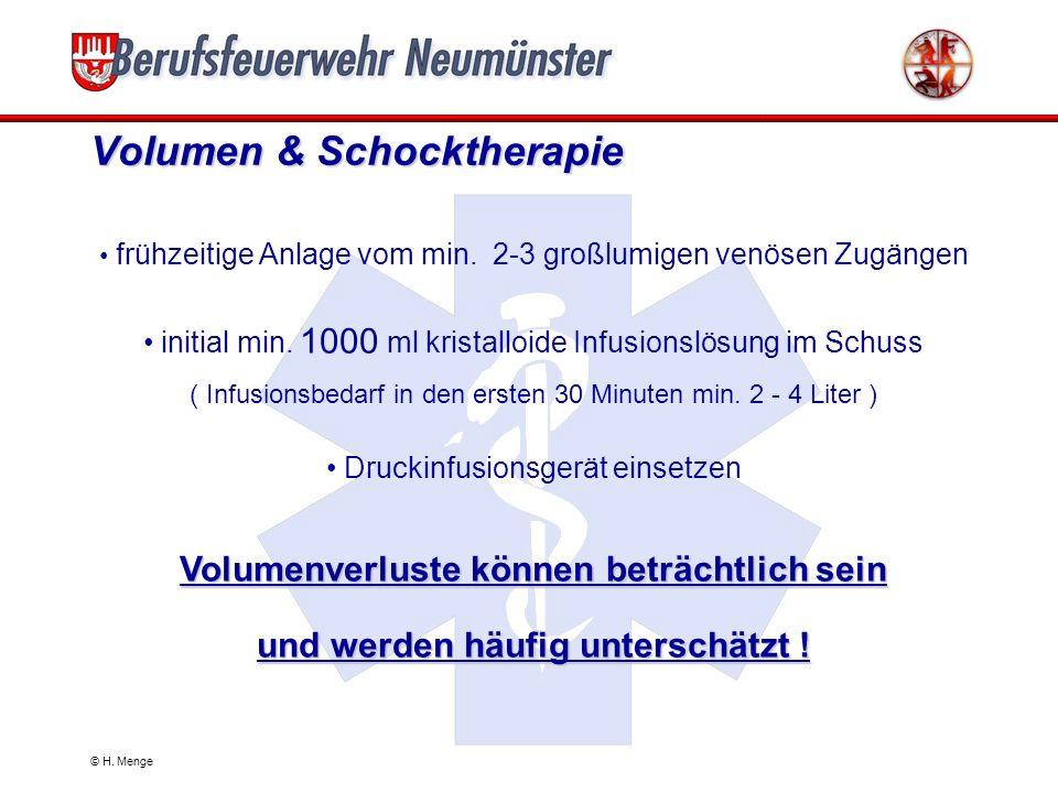 © H. Menge Initiale Schockbehandlung Sicherstellung der Oxygenierung Erfassung der Vitalparameter RR, Puls, SaO 2 venöser Zugang Volumentherapie Check