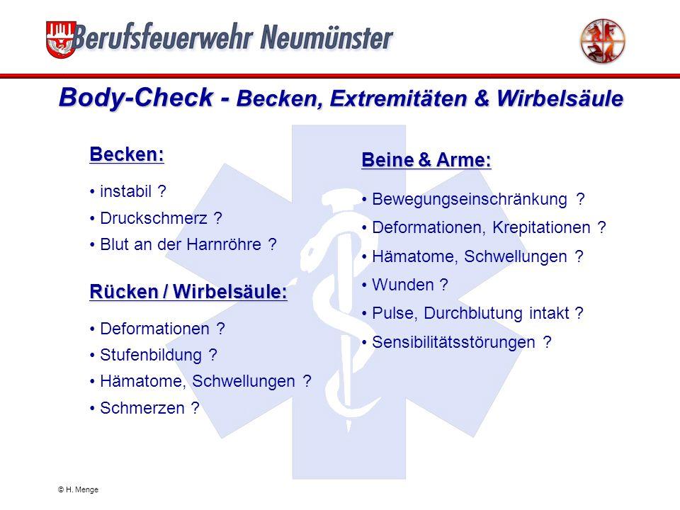 © H. Menge Body-Check - Thorax & Abdomen Thorax: Prellmarken, Hämatome ? Druckschmerz (frontal, lateral) ? Deformationen, Krepitationen ? Thoraxexkurs