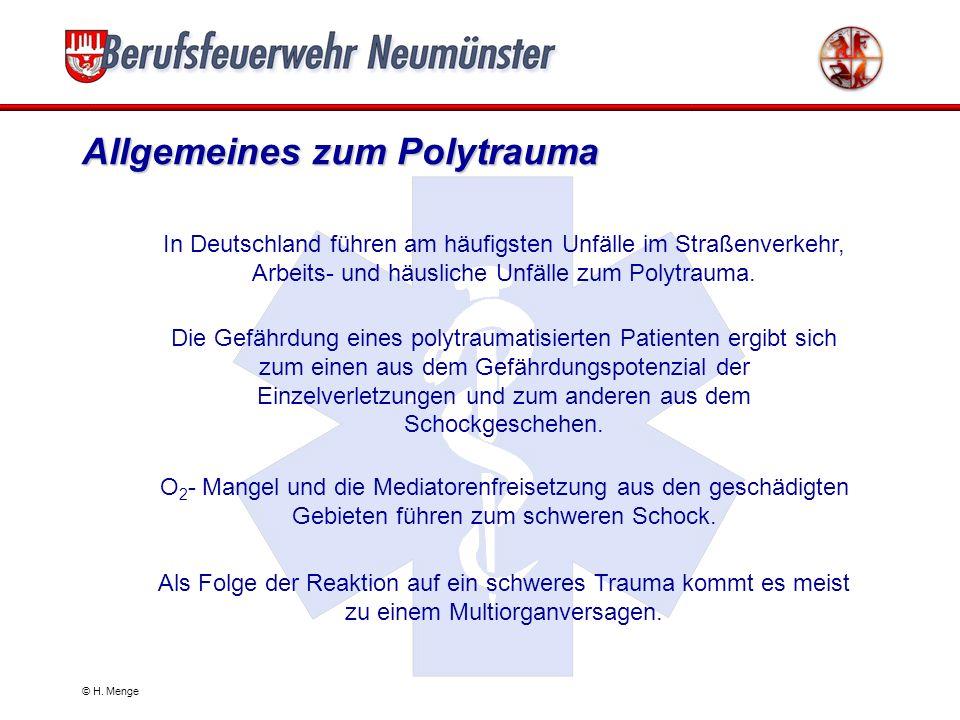 Allgemeines zum Polytrauma In Deutschland führen am häufigsten Unfälle im Straßenverkehr, Arbeits- und häusliche Unfälle zum Polytrauma.