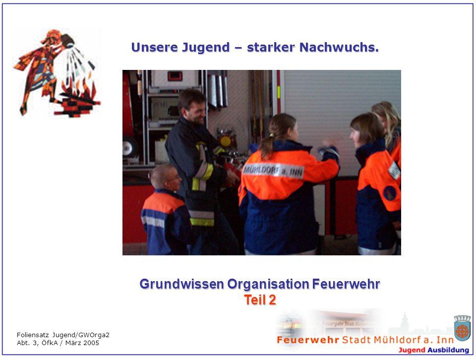 Unsere Jugend – starker Nachwuchs. Grundwissen Organisation Feuerwehr Teil 2 Foliensatz Jugend/GWOrga2 Abt. 3, ÖfkA / März 2005