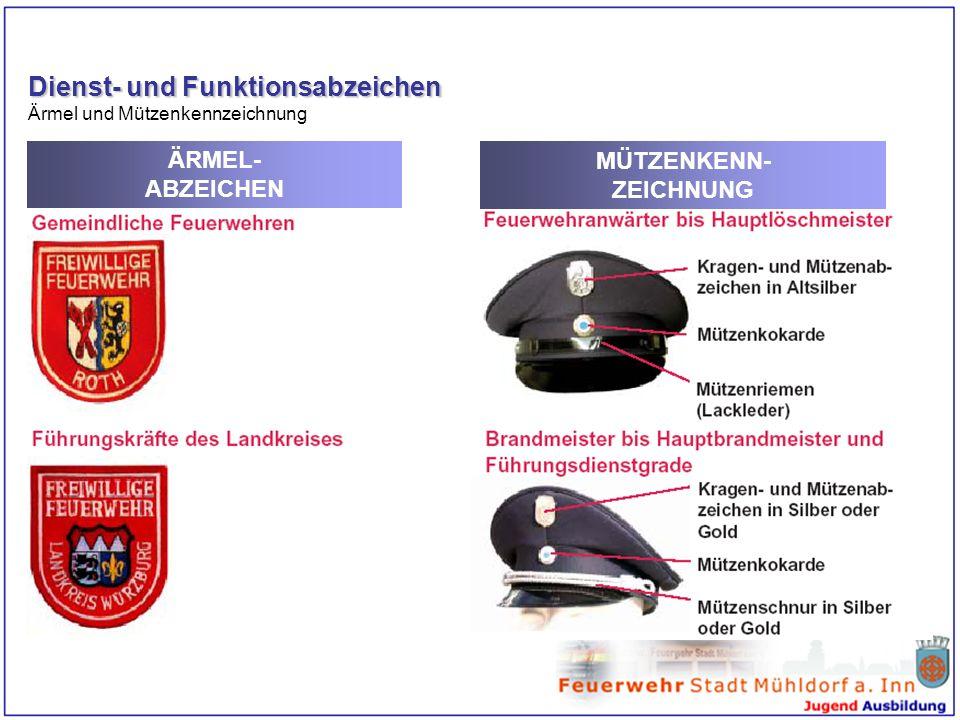 Dienst- und Funktionsabzeichen Ärmel und Mützenkennzeichnung ÄRMEL- ABZEICHEN MÜTZENKENN- ZEICHNUNG