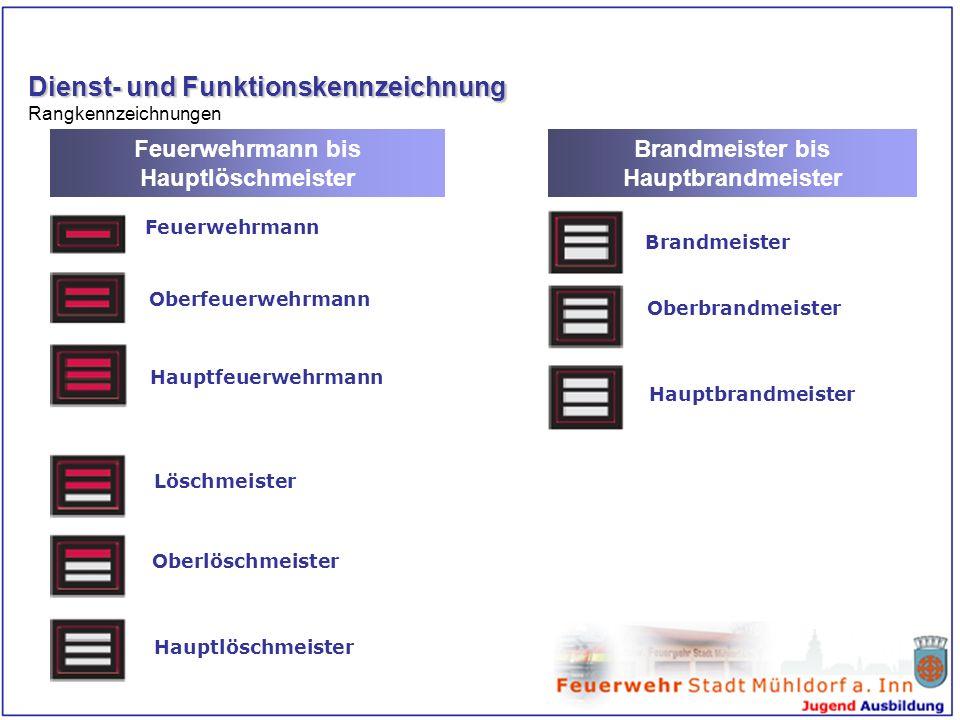 Dienst- und Funktionskennzeichnung Rangkennzeichnungen Feuerwehrmann bis Hauptlöschmeister Brandmeister bis Hauptbrandmeister Feuerwehrmann Oberfeuerw