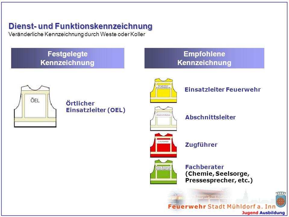 Dienst- und Funktionskennzeichnung Veränderliche Kennzeichnung durch Weste oder Koller Festgelegte Kennzeichnung Empfohlene Kennzeichnung Örtlicher Ei