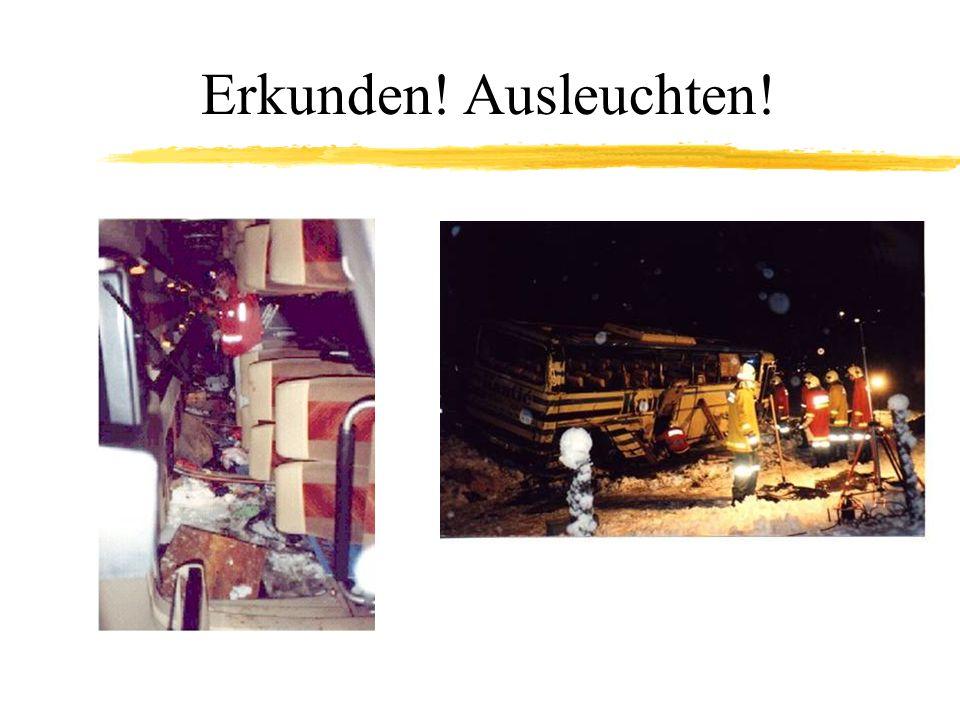 Umgestürzte Busse Sicherung der Lage des Busses Zugänge erleichtern mit: –Leitern –Baugerüsten –Arbeitsplattformen –(Hebebühne am LKW) Vorsicht beim Aufrichten/Anheben, Stabilität des Rahmens/Daches beachten