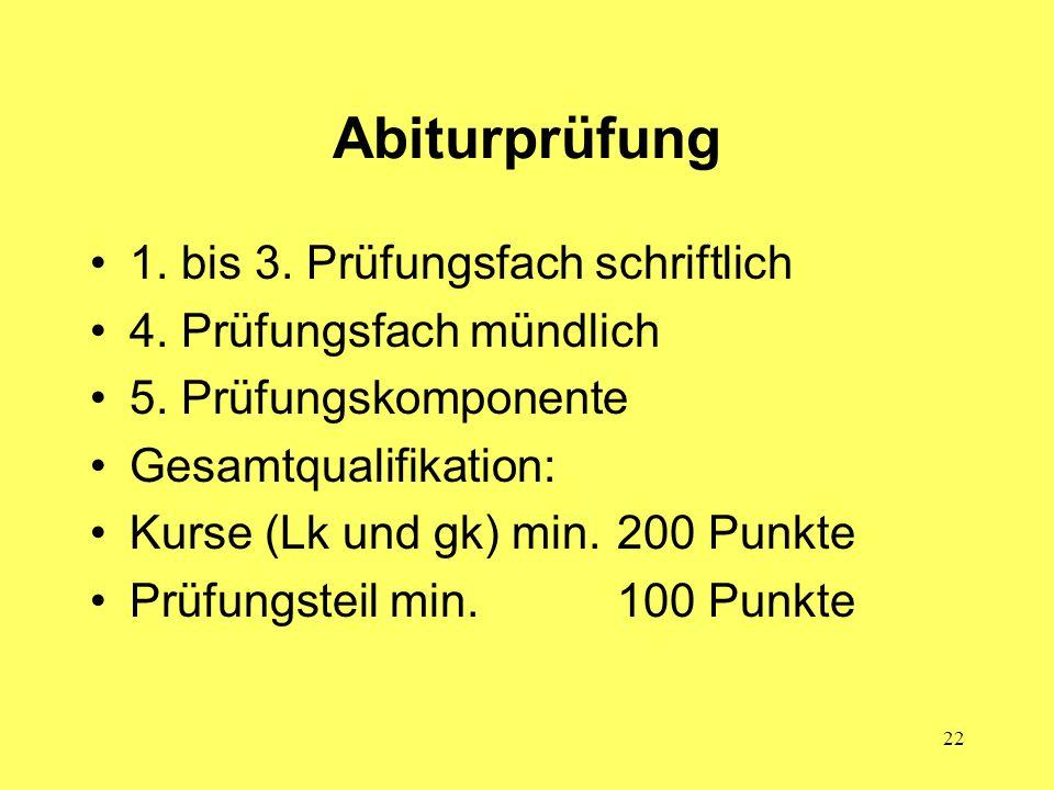 22 Abiturprüfung 1. bis 3. Prüfungsfach schriftlich 4. Prüfungsfach mündlich 5. Prüfungskomponente Gesamtqualifikation: Kurse (Lk und gk) min.200 Punk
