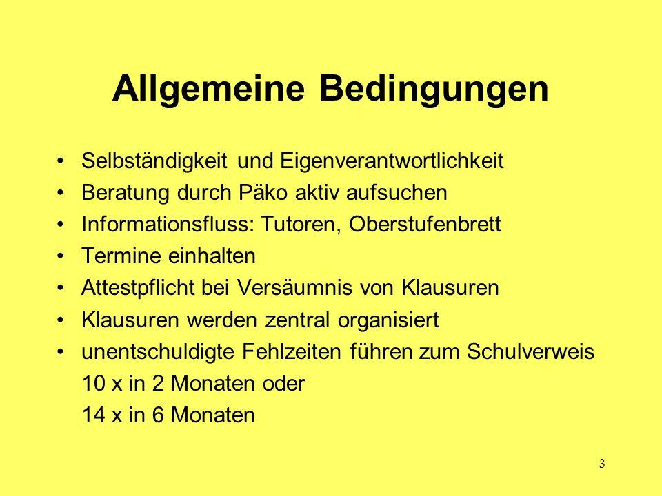 14 Auf Kurs zum Abitur Mögliche Wahlkombinationen S.16