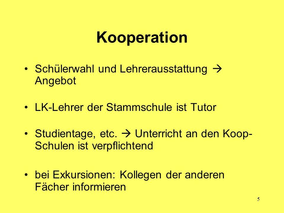 5 Kooperation Schülerwahl und Lehrerausstattung Angebot LK-Lehrer der Stammschule ist Tutor Studientage, etc. Unterricht an den Koop- Schulen ist verp