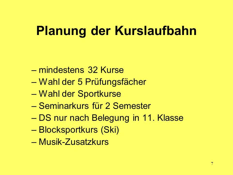7 Planung der Kurslaufbahn –mindestens 32 Kurse –Wahl der 5 Prüfungsfächer –Wahl der Sportkurse –Seminarkurs für 2 Semester –DS nur nach Belegung in 1