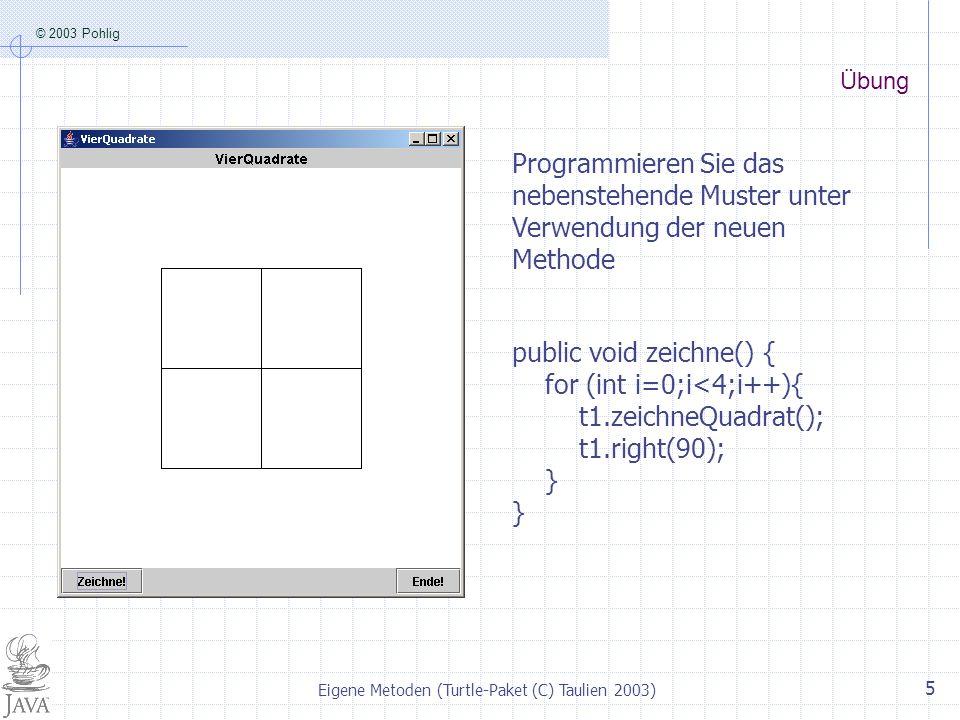 © 2003 Pohlig Eigene Metoden (Turtle-Paket (C) Taulien 2003) 5 Übung Programmieren Sie das nebenstehende Muster unter Verwendung der neuen Methode pub