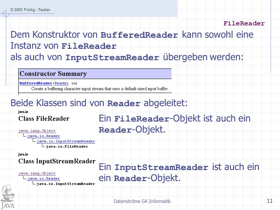 © 2005 Pohlig - Taulien Datenströme GK Informatik 11 FileReader Ein FileReader -Objekt ist auch ein Reader -Objekt.