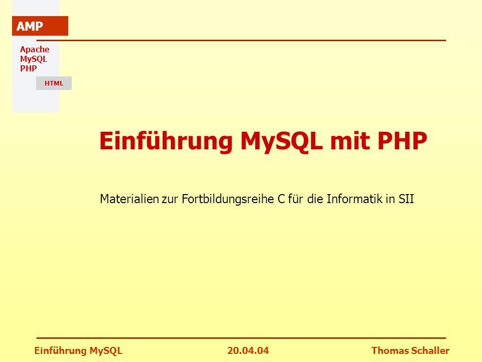 Einführung MySQL20.04.04Thomas Schaller Apache MySQL PHP HTML AMP Einführung MySQL mit PHP Materialien zur Fortbildungsreihe C für die Informatik in S