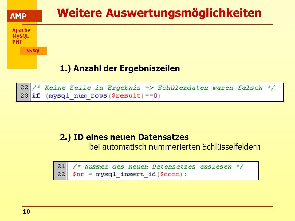 Apache MySQL PHP MySQL AMP 10 Weitere Auswertungsmöglichkeiten 2.) ID eines neuen Datensatzes bei automatisch nummerierten Schlüsselfeldern 1.) Anzahl