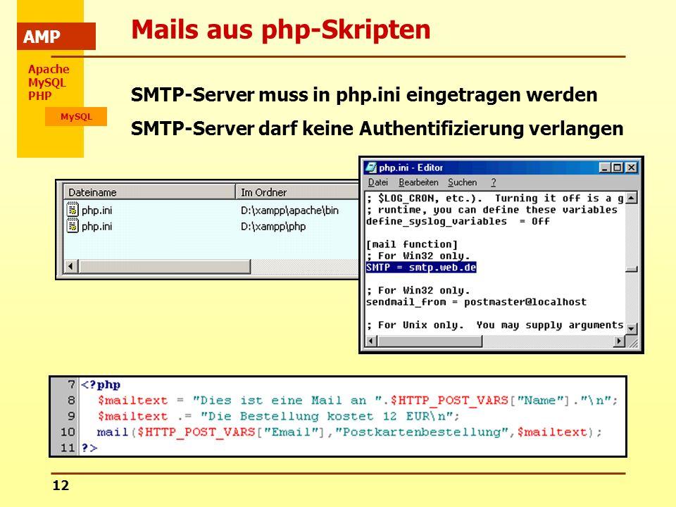 Apache MySQL PHP MySQL AMP 12 Mails aus php-Skripten SMTP-Server muss in php.ini eingetragen werden SMTP-Server darf keine Authentifizierung verlangen