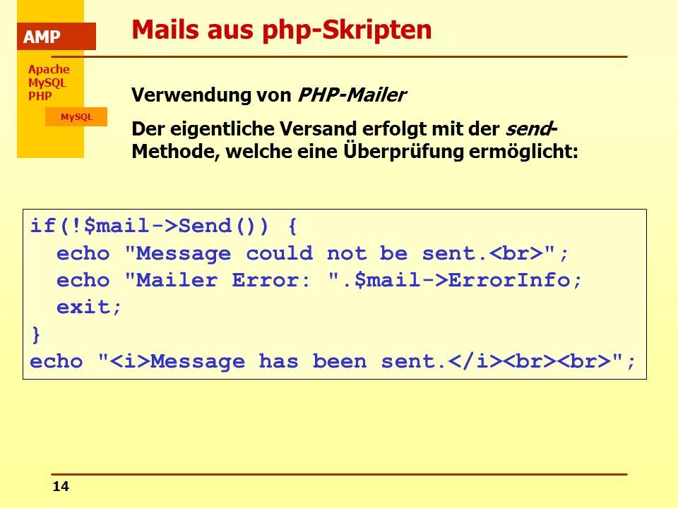 Apache MySQL PHP MySQL AMP 14 Mails aus php-Skripten Verwendung von PHP-Mailer Der eigentliche Versand erfolgt mit der send- Methode, welche eine Über