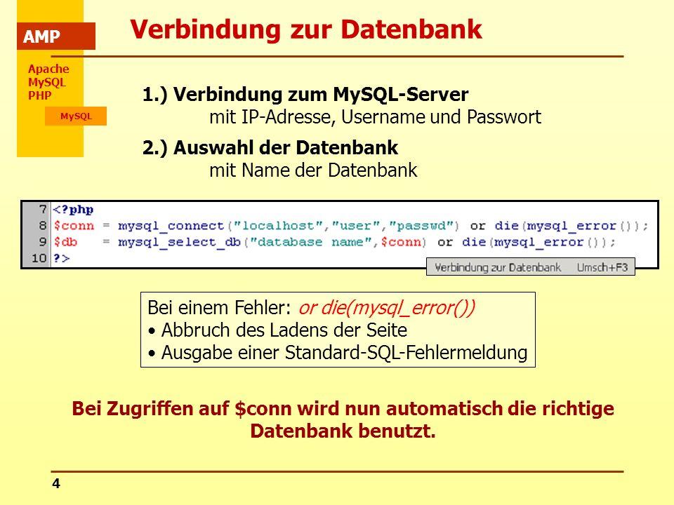Apache MySQL PHP MySQL AMP 4 Verbindung zur Datenbank 1.) Verbindung zum MySQL-Server mit IP-Adresse, Username und Passwort 2.) Auswahl der Datenbank