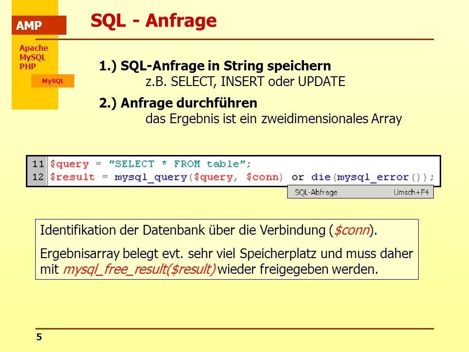 Apache MySQL PHP MySQL AMP 5 SQL - Anfrage 1.) SQL-Anfrage in String speichern z.B. SELECT, INSERT oder UPDATE 2.) Anfrage durchführen das Ergebnis is