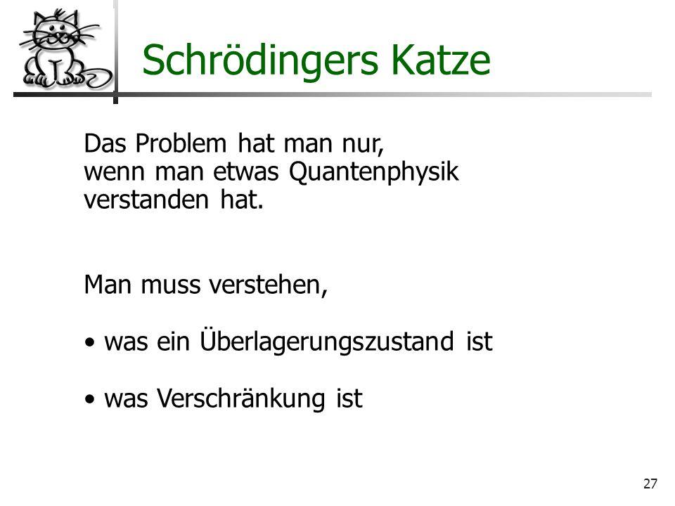27 Wo liegt der Hund begraben? Schrödingers Katze Das Problem hat man nur, wenn man etwas Quantenphysik verstanden hat. Man muss verstehen, was ein Üb