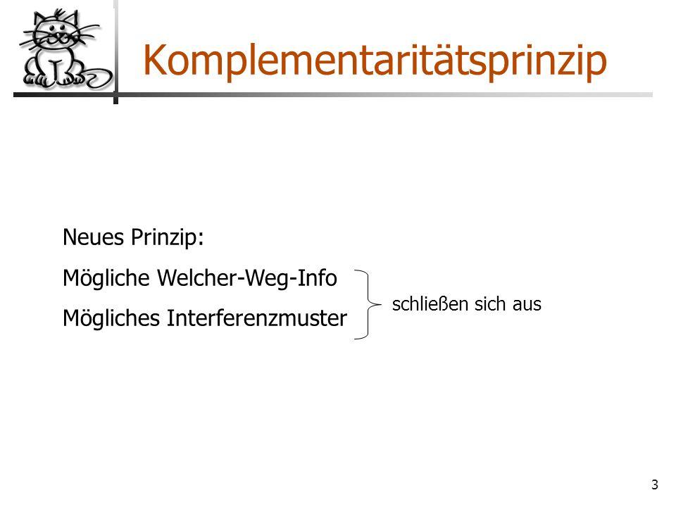 3 Komplementaritätsprinzip Neues Prinzip: Mögliche Welcher-Weg-Info Mögliches Interferenzmuster schließen sich aus