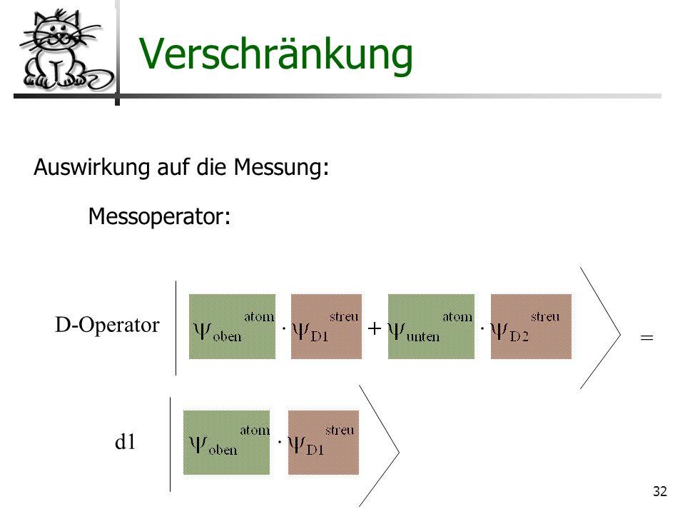 32 Verschränkung Auswirkung auf die Messung: Messoperator: D-Operator = d1
