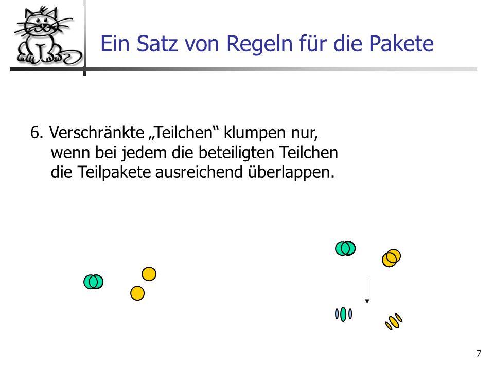 7 6. Verschränkte Teilchen klumpen nur, wenn bei jedem die beteiligten Teilchen die Teilpakete ausreichend überlappen. Ein Satz von Regeln für die Pak