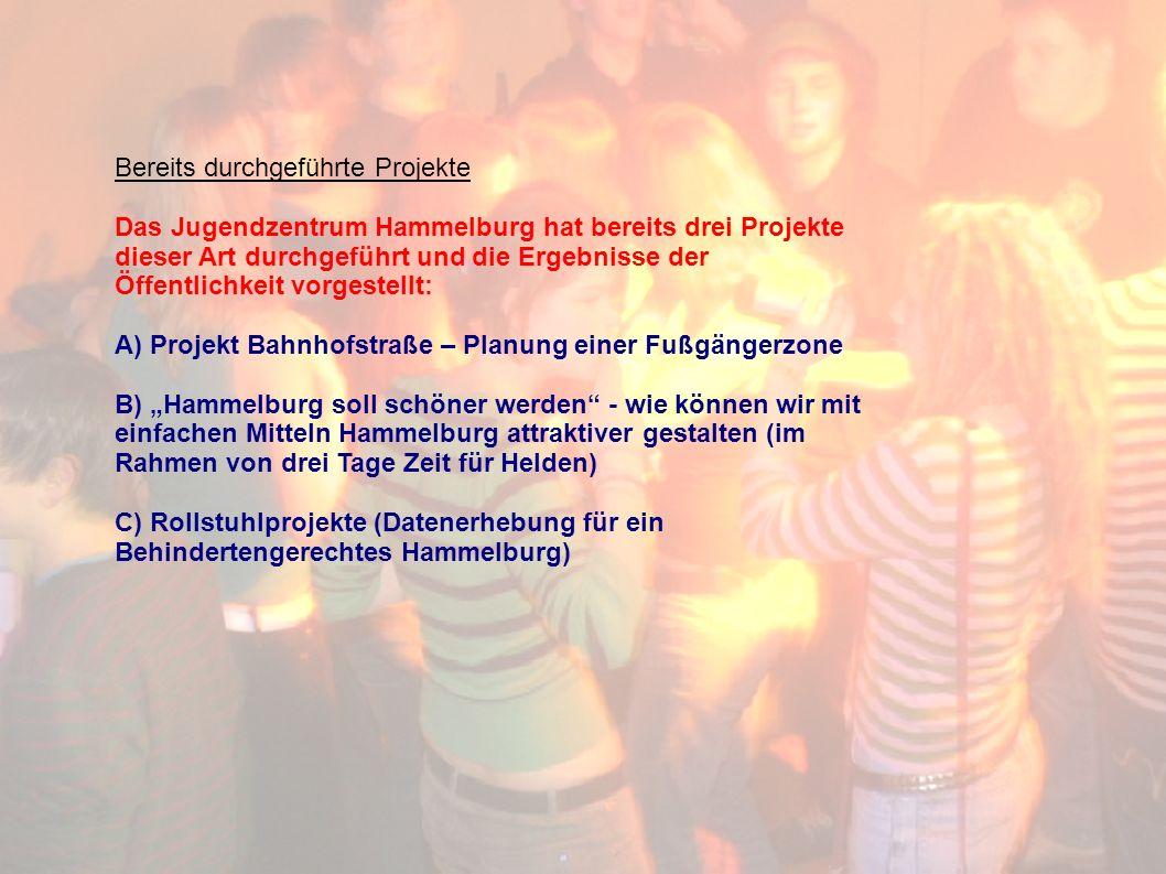 Bereits durchgeführte Projekte Das Jugendzentrum Hammelburg hat bereits drei Projekte dieser Art durchgeführt und die Ergebnisse der Öffentlichkeit vorgestellt: A) Projekt Bahnhofstraße – Planung einer Fußgängerzone B) Hammelburg soll schöner werden - wie können wir mit einfachen Mitteln Hammelburg attraktiver gestalten (im Rahmen von drei Tage Zeit für Helden) C) Rollstuhlprojekte (Datenerhebung für ein Behindertengerechtes Hammelburg)