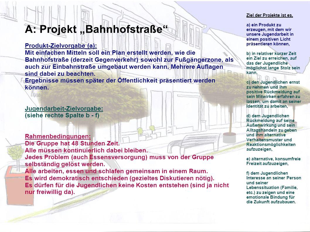 A: Projekt Bahnhofstraße Produkt-Zielvorgabe (a): Mit einfachen Mitteln soll ein Plan erstellt werden, wie die Bahnhofstraße (derzeit Gegenverkehr) sowohl zur Fußgängerzone, als auch zur Einbahnstraße umgebaut werden kann.
