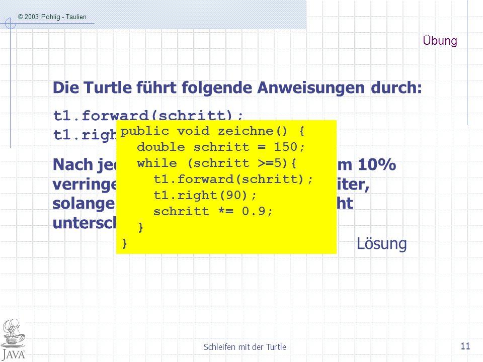 © 2003 Pohlig - Taulien Schleifen mit der Turtle 11 Übung Die Turtle führt folgende Anweisungen durch: t1.forward(schritt); t1.right(90); Nach jedem S