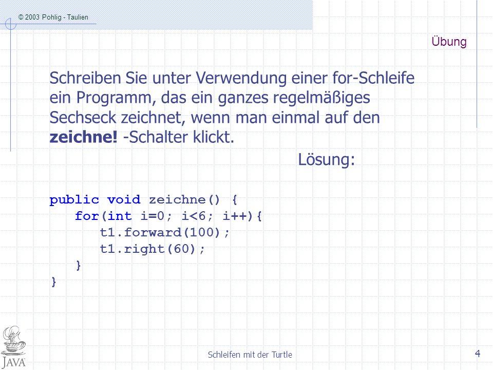 © 2003 Pohlig - Taulien Schleifen mit der Turtle 4 Übung Schreiben Sie unter Verwendung einer for-Schleife ein Programm, das ein ganzes regelmäßiges S