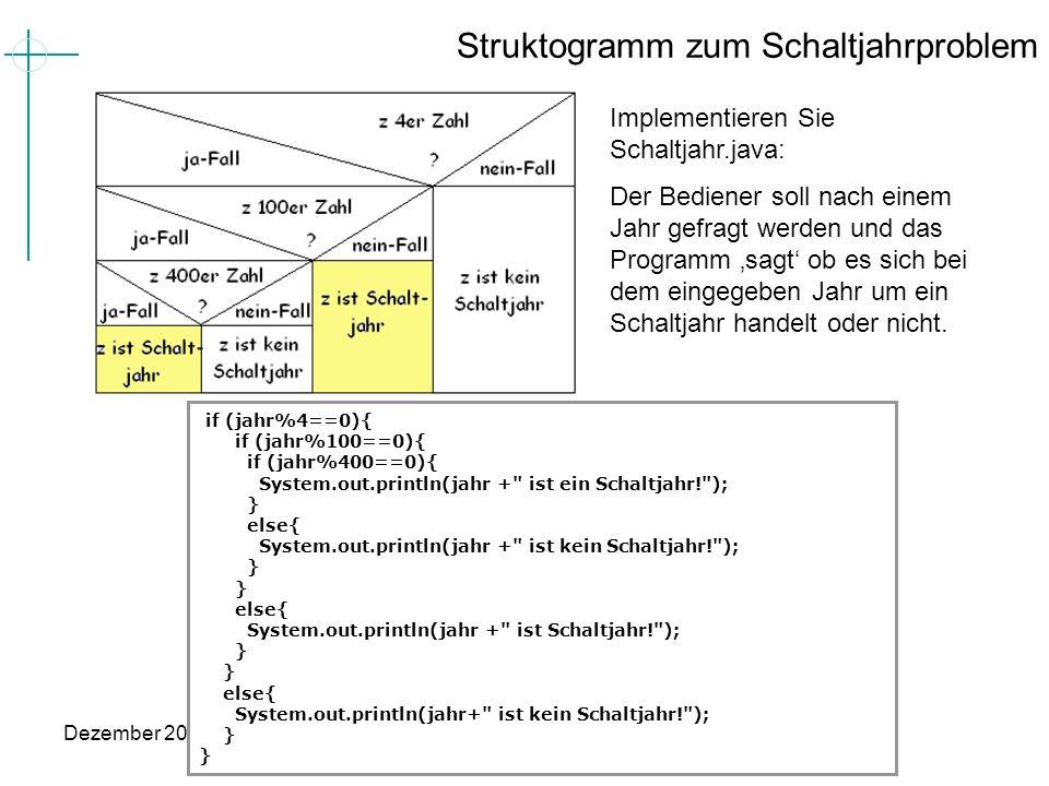 Dezember 2005Grundkurs INformatik mit Java (11-13) (C) MPohlig Struktogramm zum Schaltjahrproblem Implementieren Sie Schaltjahr.java: Der Bediener sol