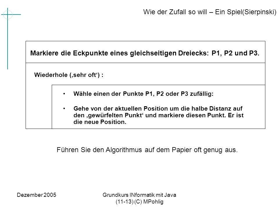 Dezember 2005Grundkurs INformatik mit Java (11-13) (C) MPohlig Wie der Zufall so will – Ein Spiel(Sierpinski) Wähle einen der Punkte P1, P2 oder P3 zu