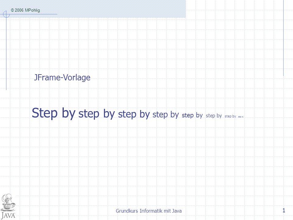 © 2006 MPohlig Grundkurs Informatik mit Java 1 JFrame-Vorlage Step by step by step by step by step by step by step by step by