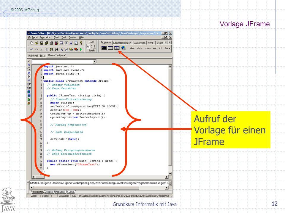 © 2006 MPohlig Grundkurs Informatik mit Java 12 Aufruf der Vorlage für einen JFrame Vorlage JFrame