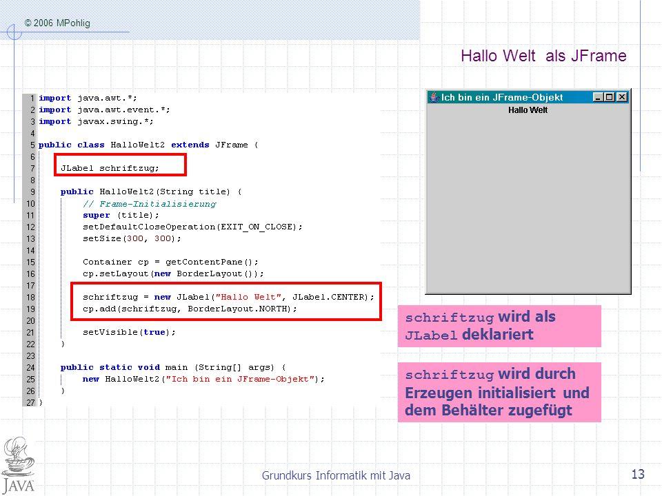 © 2006 MPohlig Grundkurs Informatik mit Java 13 Hallo Welt als JFrame schriftzug wird als JLabel deklariert schriftzug wird durch Erzeugen initialisiert und dem Behälter zugefügt