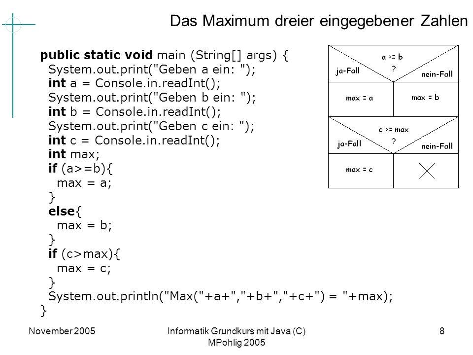 November 2005Informatik Grundkurs mit Java (C) MPohlig 2005 8 Das Maximum dreier eingegebener Zahlen public static void main (String[] args) { System.