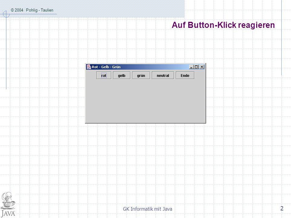© 2004 Pohlig - Taulien GK Informatik mit Java 2 Auf Button-Klick reagieren
