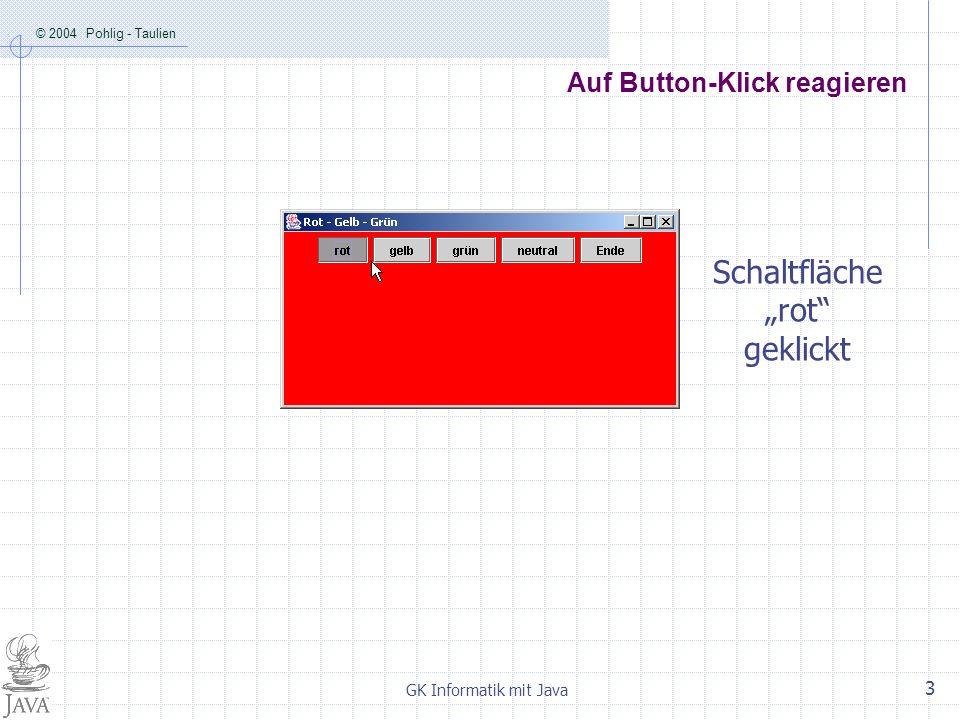 © 2004 Pohlig - Taulien GK Informatik mit Java 3 Auf Button-Klick reagieren Schaltfläche rot geklickt