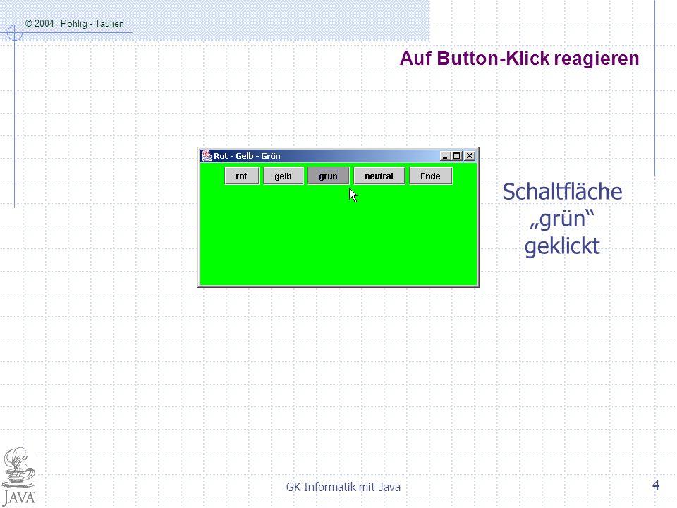 © 2004 Pohlig - Taulien GK Informatik mit Java 4 Auf Button-Klick reagieren Schaltfläche grün geklickt